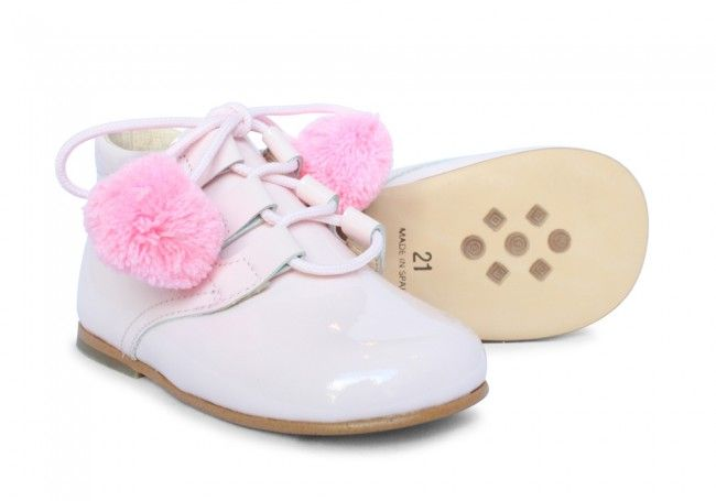 Girls Pink Patent Lace Boot with Pompoms