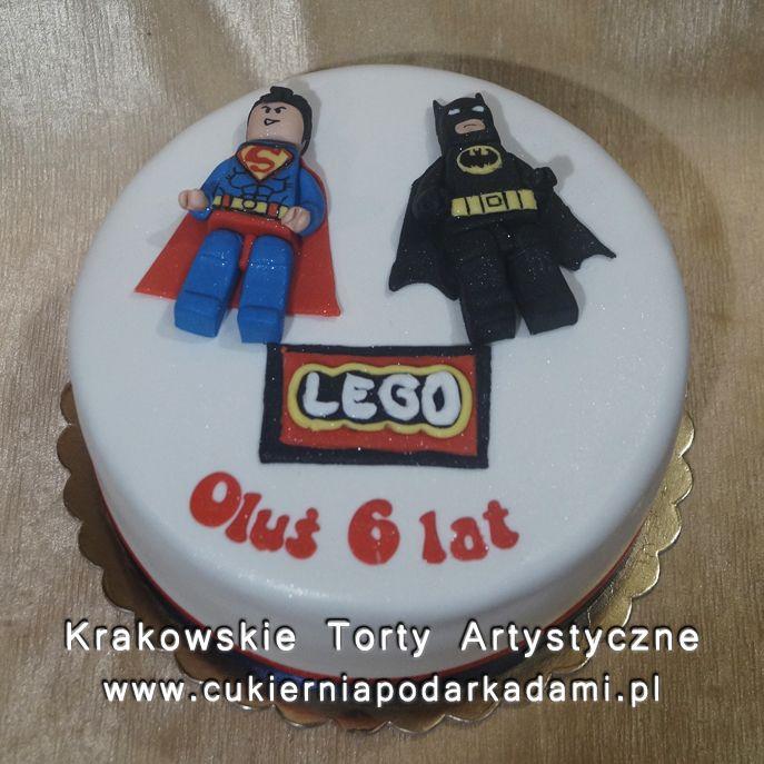 122. Biały tort Lego Batman i Superman. Lego Superman and Batman cake.
