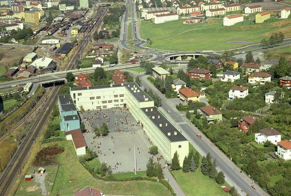 Sinsen skole. Jernbanesporet til Gjøvikb...