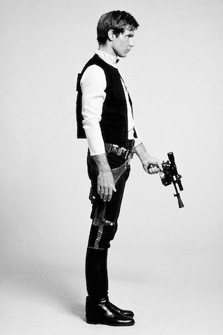 """Star Wars"",  Costume test photo of Harrison Ford as Han Solo"