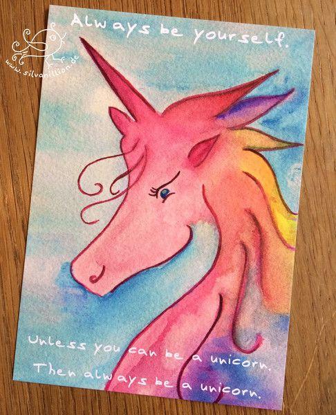 Liebe & Freundschaft - Einhorn Unicorn Karte Postkarte Regenbogen - ein Designerstück von silvanillion bei DaWanda