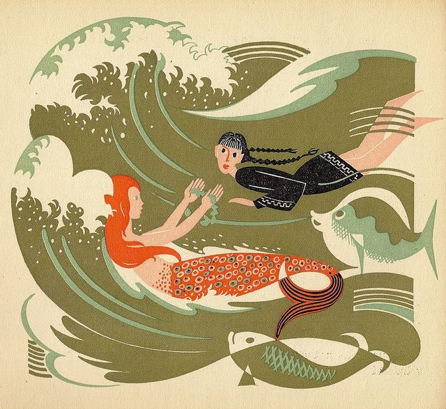 Mermaids - Swimming in the sea from the book FEODORA (1947) - illustration by Jan Goeting