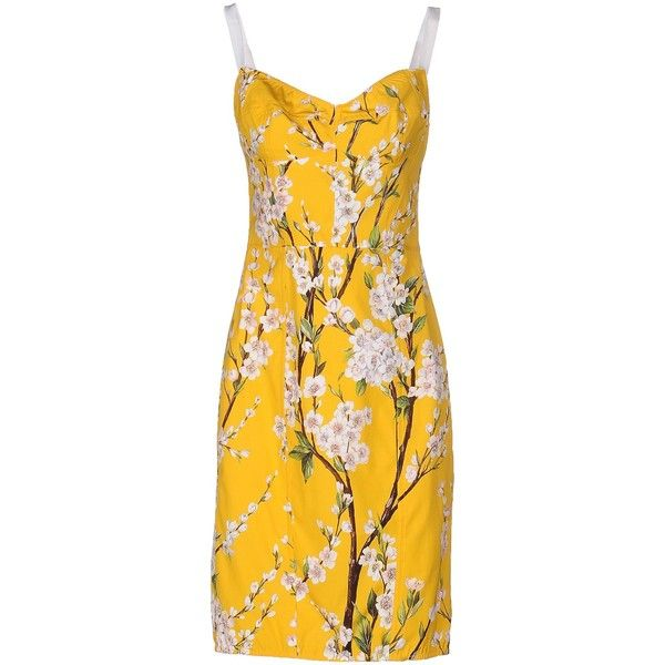 Dolce & Gabbana Short Dress ($745) ❤ liked on Polyvore featuring dresses, yellow, dolce gabbana dress, short tube dress, floral print dress, short yellow dress and cotton dresses