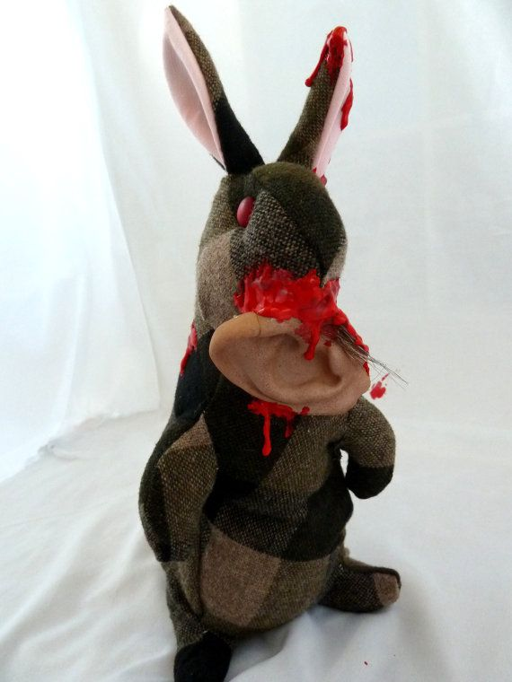 Zombie Bunny with Ear by IckyDogCreations on Etsy, $28.00