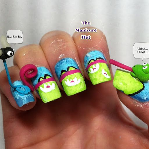 Disney Princess Ariel | The Nail Network: Disney Princess Nail Art Series: Ariel. Lots of time and work put into this idea!!Craziest Nails, Art Designs, Princesses Nails Art, Frogs Manicures, Disney Princesses Nails, Froggy Feast, Nails Art Design, 3D Nails, Nail Art