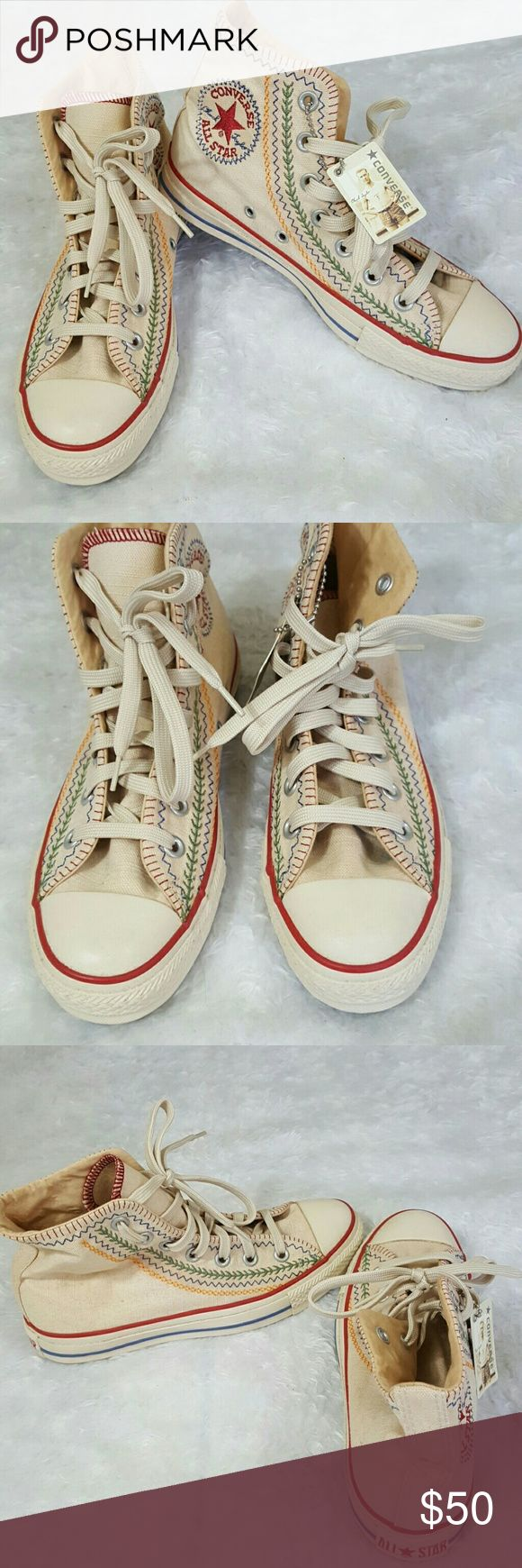 NWT!  Converse Allstars high top sneakers Brand new never worn Adorable high tops, love these!!  Embroidery and stitching on cream colored canvas, super cute! Converse Shoes Athletic Shoes