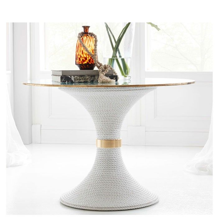Nautical Dining Table Base Only White Rope Somerset Bay