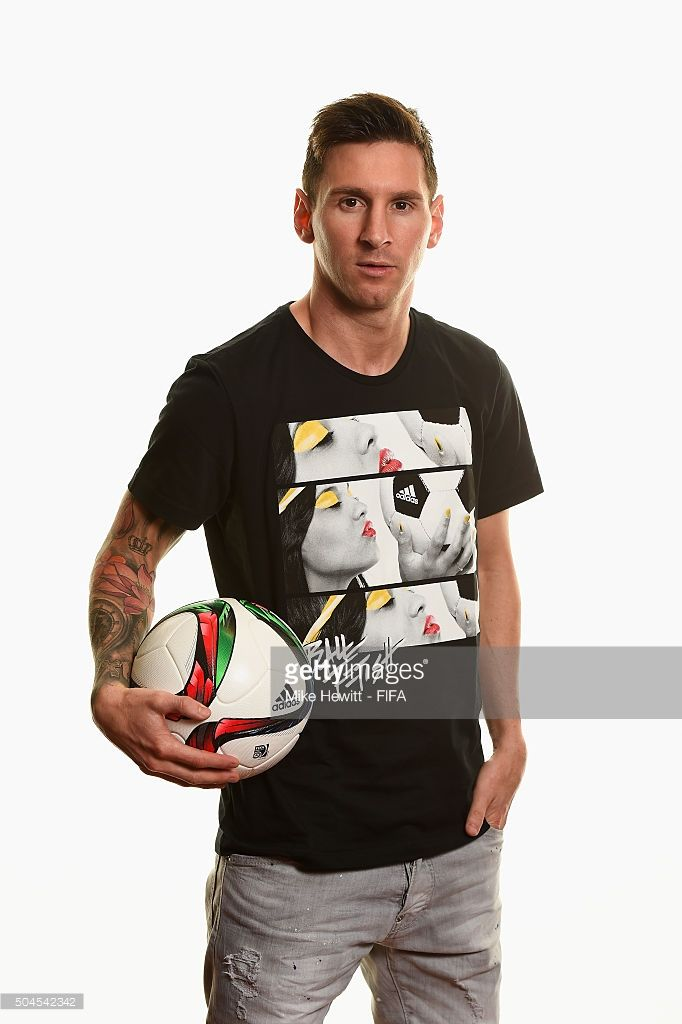 Ballon d'Or nominee Lionel Messi of Argentina and Barcelona poses for a portrait prior to the FIFA Ballon d'Or Gala 2015 at the Park Hyatt hotel on January 11, 2016 in Zurich, Switzerland.