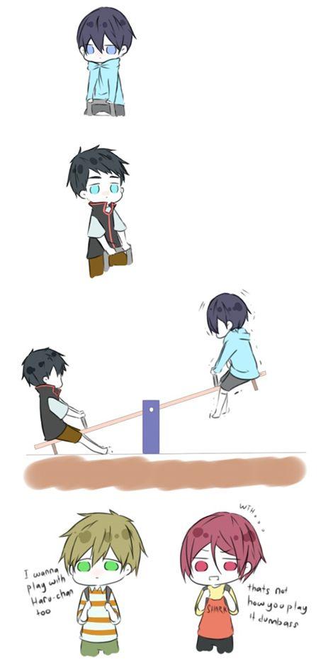 That's not how you play it, dumbass ...  Drawn by yuuhikari ... Free! - Iwatobi Swim Club, free!, iwatobi, sosuke, sosuke yamazaki, yamazaki, sosouke, sosouke yamazaki, rin, rin matsuoka, matsuoka, haruka nanase, haru nanase, haru, makoto tachibana, makoto, tachibana