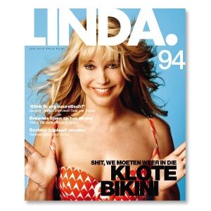 """Linda de Mol draagt #HUIT op de cover van LINDA. 94 """"shit, we moeten weer in die klote bikini""""! #lindamagazine"""