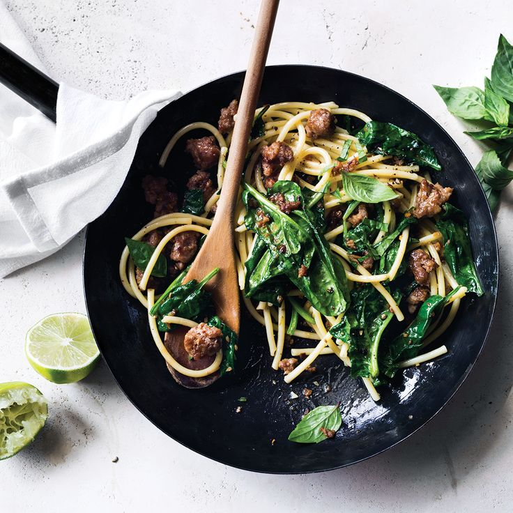 This quick Thai-inspired noodle dish gets flavor from pork, garlic, ginger, fish sauce and lime juice. Get the recipe at Food & Wine.