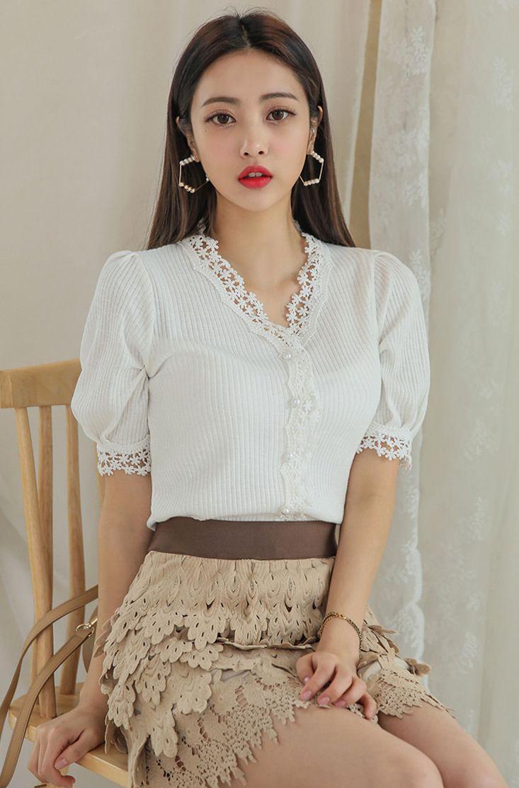 Floral Lace Trim Front Button Up Closure Top CHLO.D.MANON   #ivory #lace #top #koreanfashion #kstyle #kfashion #dailylook #cute #springtrend