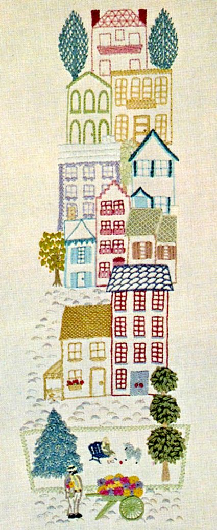 Embroidered houses