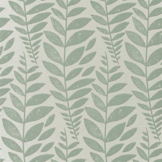 Odhni Wallpaper A flowing Batik leaf design introduces gorgeous textural metallic detail into its pure printed cotton to create depth of character and a vintage distressed feel. With sea green foliage on a metallic background.