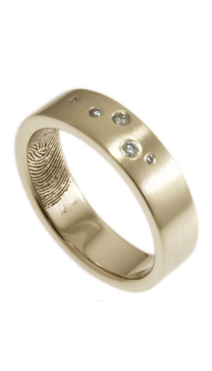 brentjess fingerprint wedding rings fingerprint wedding band A little bit of sparkle with the intimacy of your actual fingerprint on the interior of