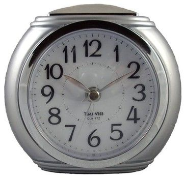 Harvard Alarm Clock Silver and chrome transitional clocks