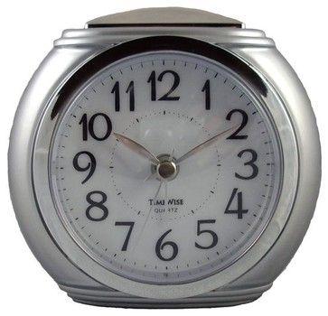 Harvard Alarm Clock Silver and chrome transitional clocks