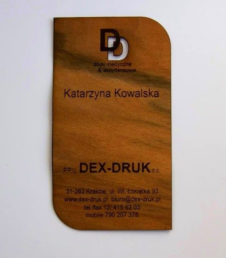Dex-Druk Wood Business Cards  OUR GALLERY OF WOOD:  info@dex-druk.pl www.dex-druk.pl www.drukimedyczne.pl Facebook page: Dex-Druk Wood Business Cards