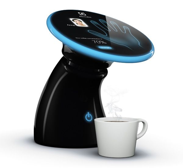 This is a coffee maker that uses hand print recognition to make the right cup of coffee for the right person.