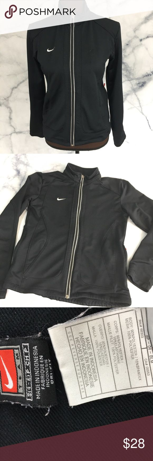 Nike | Dry Fit Zip Up Sweatshirt Jacket Black gently used sip up collar sweatshirt from Nike. One pin size hole in back shoulder areas, shown in last photo. Otherwise in Excellent condition! Black and White. Nike Tops Sweatshirts & Hoodies