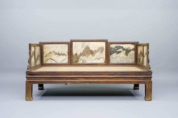 LOHAN BEDS | Huanghuali Wood Lohan Bed with Marble Panels