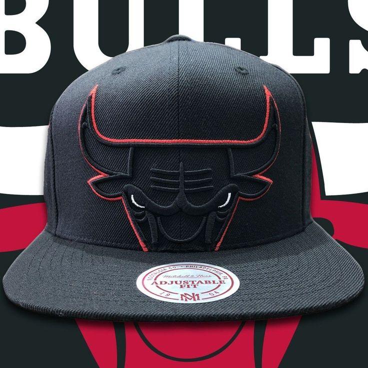 Chicago bulls xl logo black mitchell and ness snapback hat