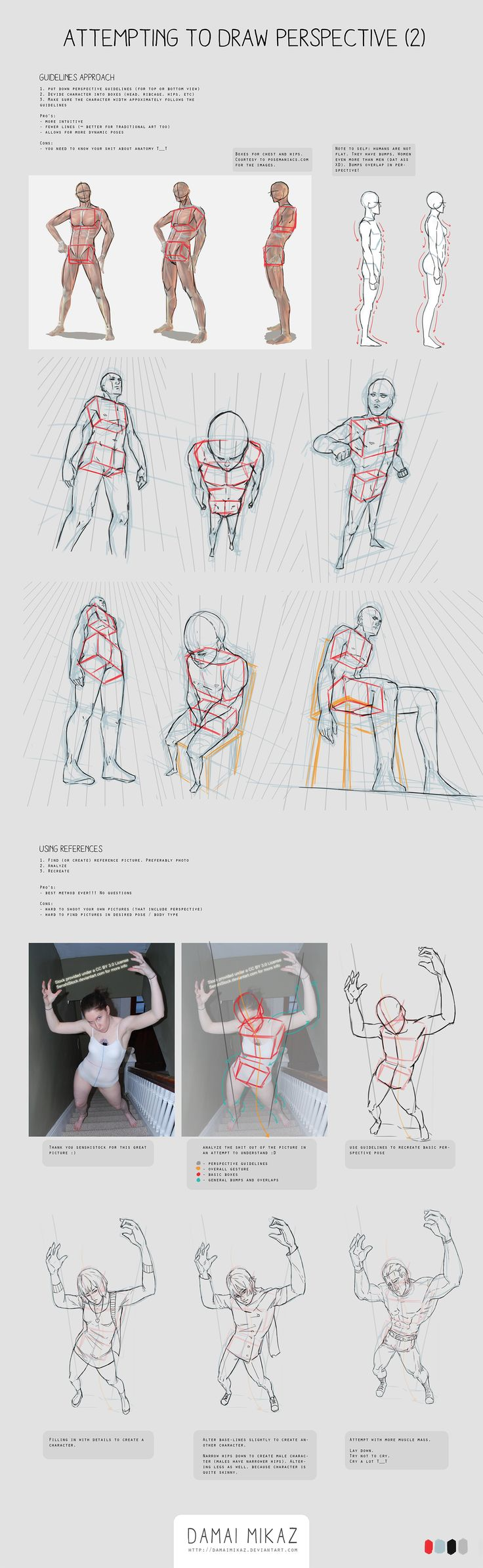 Poses varios perspectiva anime doodle