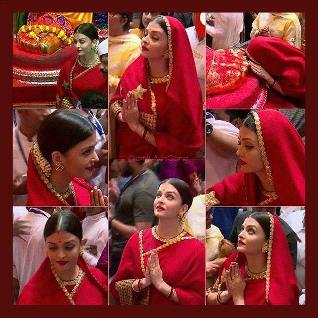 The Sabyasachi Red  Aishwarya Rai Bachchan @aishwaryarai at the Ganpati Festival in Lalbaugcha Raja. Wearing 'The Sabyasachi Red' Matka Saree from our Heritage Collection.  #Sabyasachi #TheWorldOfSabyasachi #AishwaryaRaiBachchan #MakeinIndia #HeritageCollection #AutumnWinterCouture2017 #IndianDesigner #IndianCouture2017 #SabyasachiRed Styled by @theanisha