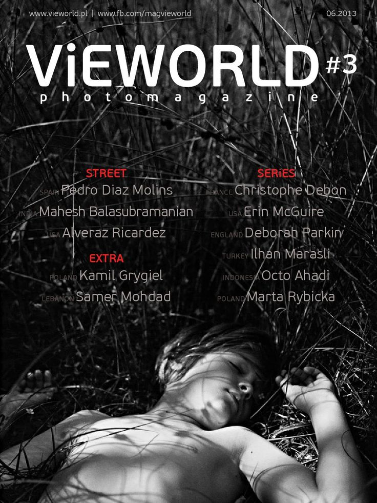 Vieworld is a photo magazine focusing mainly on street photography, documentary and photo stories presented in black and white. In this issue: Deborah Parkin, Mahesh Balasubramanian, Ilhan Marasli, Alveraz Ricardez, Pedro Diaz Molins, Kamil Grygiel, Christophe Debon, Erin McGuire, Octo Ahadi, Marta Rybicka, Samer Mohdad