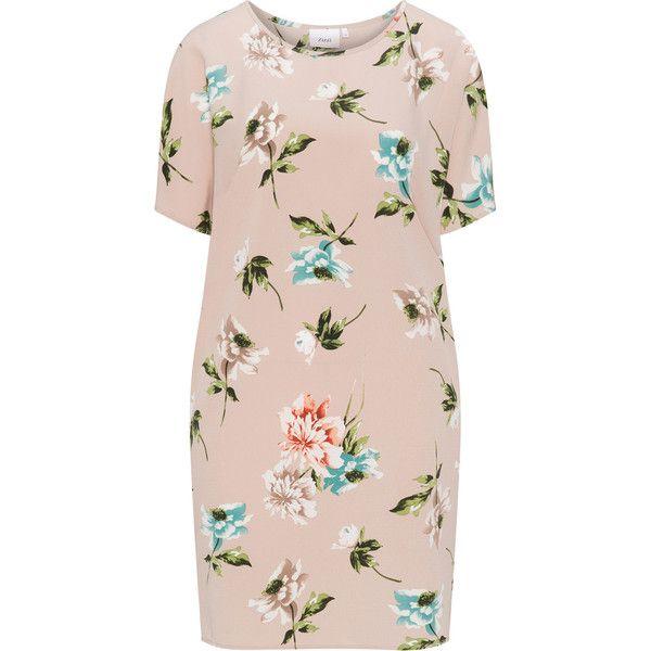 Zizzi Cream / Multicolour Plus Size Floral crêpe shift dress ($52) ❤ liked on Polyvore featuring dresses, cream, plus size, plus size pink dresses, short dresses, short pink dress, short-sleeve dresses and short-sleeve shift dresses