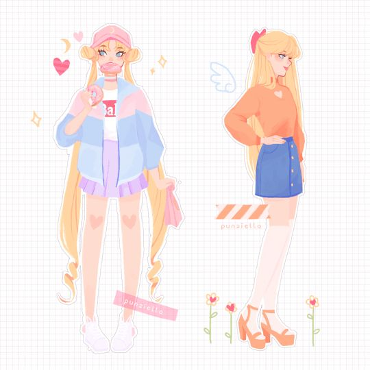 Sailor Moon and Sailor Venus - by punziella