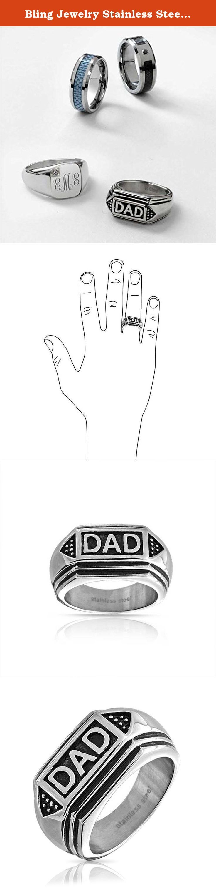 Bling Jewelry Stainless Steel Black Enamel Geometric Mens Dad Ring. Your dad will always know just how much you love him when he wears this thoughtful gift of Fathers Day jewelry every day. Geometric edges and two triangular shapes on either side of the word DAD, give our stainless steel geometric ring a modern look. The black enamel gives the two tone piece great contrast. This is destined to be one of his favorite Fathers Day gifts from the minute he opens the package and slips it on…