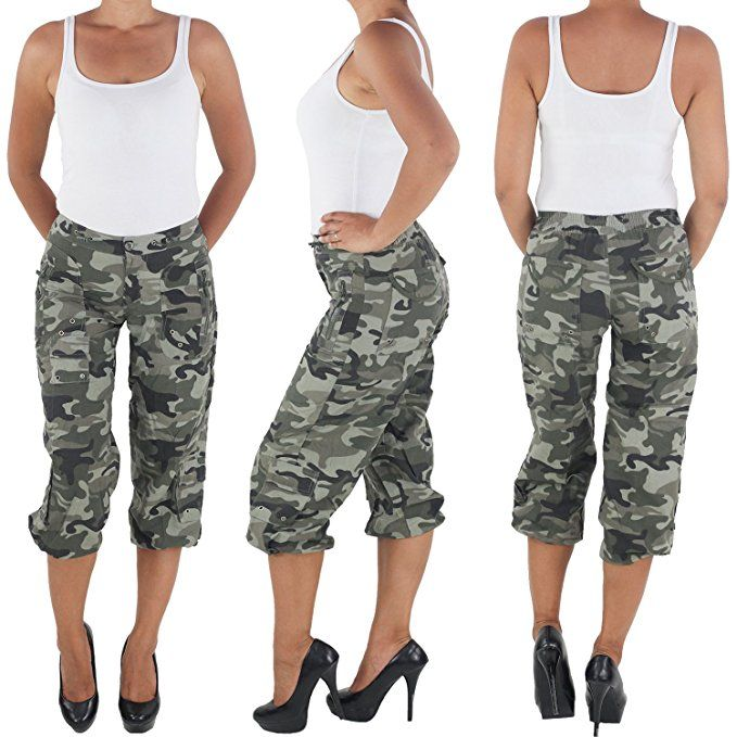 Pants Army Camouflage Hot Capri Bermuda Shorts Damen Cargo Nwm8v0ynO