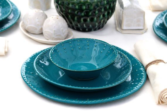 Dark Teal Dinnerware Set - Dinner Salad Dessert Bread Plate and Bowl - 3 Piece Set - Aqua Mist Creamy White - French Country - Made to Order on Etsy, $94.50