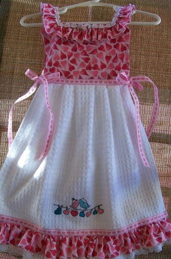 Oven Door Dish Towel Dress in Pink Oriental Mum by WoopsaDaisies LOVE ALL of them ♥