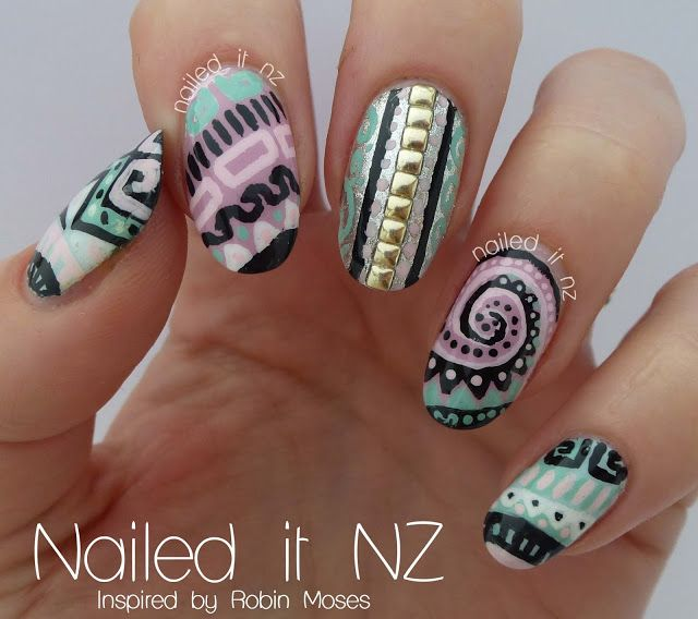 Nailed It NZ: Tribal Diva nail art, inspired by Robin Moses!