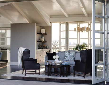 pictures of gray living rooms | this contemporary California farmhouse with a blue-gray living room ...