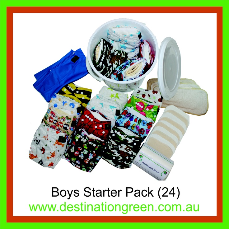 Boys' Starter Pack - includes 24 reusable nappies, $270.00