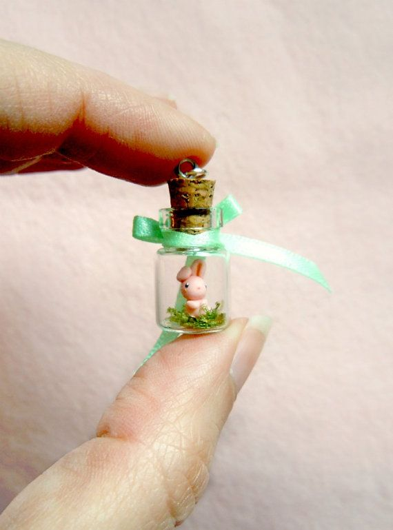 What a cuter way to celebrate springtime than wearing a super tiny terrarium that features soft green moss, a beautiful mink green bow and the tiniest baby bunny ever? : )