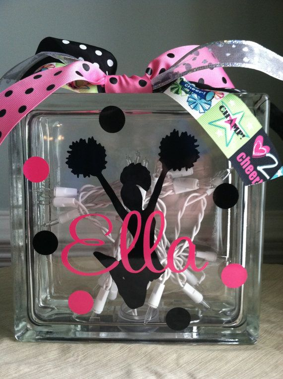 Personalized Cheerleading Glass Block Light on Etsy, $24.99