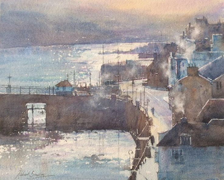'Smoke & Light, Whitby Harbour'. Watercolour painting on Saunders Waterford paper. - Robert Brindley