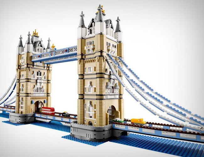 Lego - Tower Bridge - 10214. 4287 pieces. $299.99. Love the double decker bus. Raise and lower the drawbridge.
