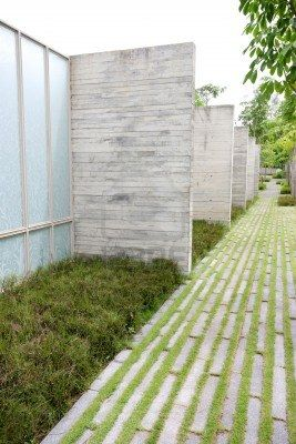 Modern zen garden area - theme urban nature. Stock Photo