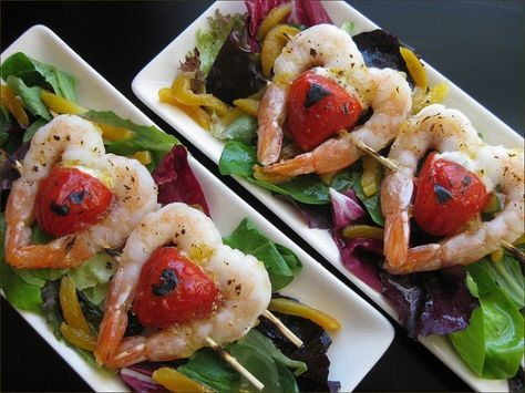 Grilled Shrimp and Cherry Tomatoes on a sweet little skewer would make a wonderful first course at a Valentine's Day dinner.