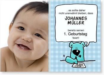 Geburtstagseinladung - 1. Geburtstag kleiner Schreibbär: Geburtstag Kleiner, Kleiner Schreibbär