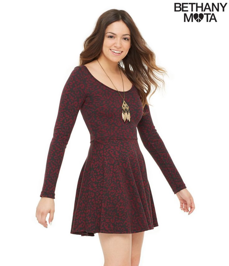 Long Sleeve Animal Print Dress from Aeropostale