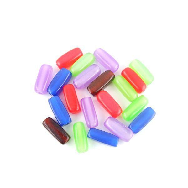 x20 Perles multicolores rectanglulaires en résine 14x6mm : Perles Synthétiques par perlio