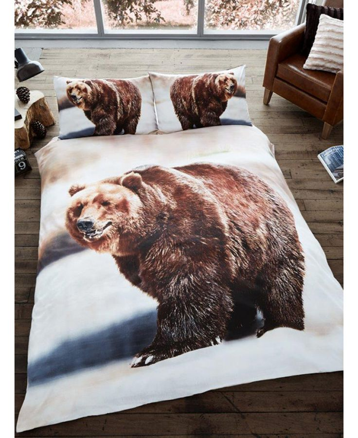 This stunning 3D Bear Single Duvet Cover and Pillowcase Set features a photographic style print of a beautiful brown bear. Free UK delivery available