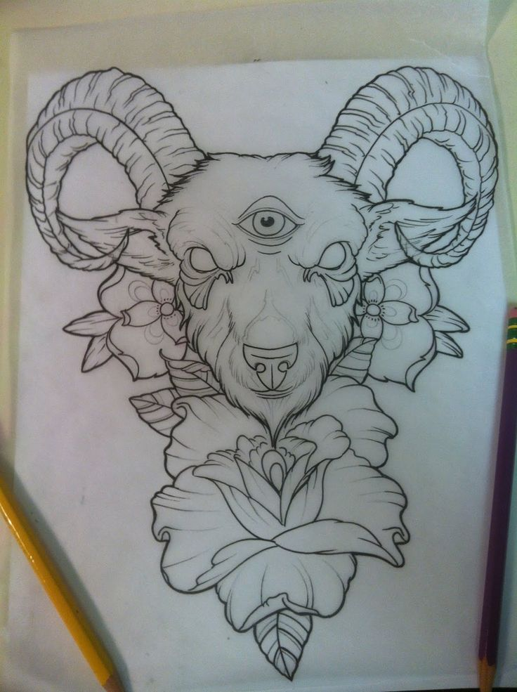 Tattoo Idea Designs custom tattoo illustration for rachel Goat Head Tattoo Designs Google Search