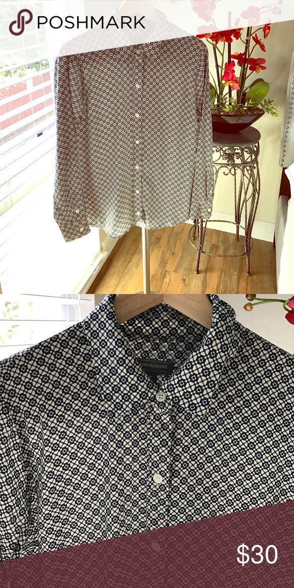 Button down top Button down top from Johnson and Murphy. Great to pair with a nice skirt for work!  100% polyester Johnston & Murphy Tops Button Down Shirts